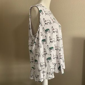 Ann Taylor Factory Tops - Ann Taylor Factory Llama Print Peplum Tank Top XL